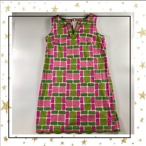 Talbots Sz 16 green&pink squares print dress